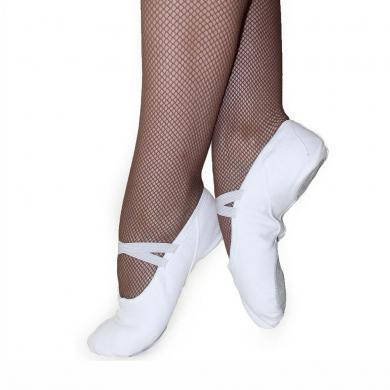 Купить балетки на резинке белые - балетные тапочки кирза